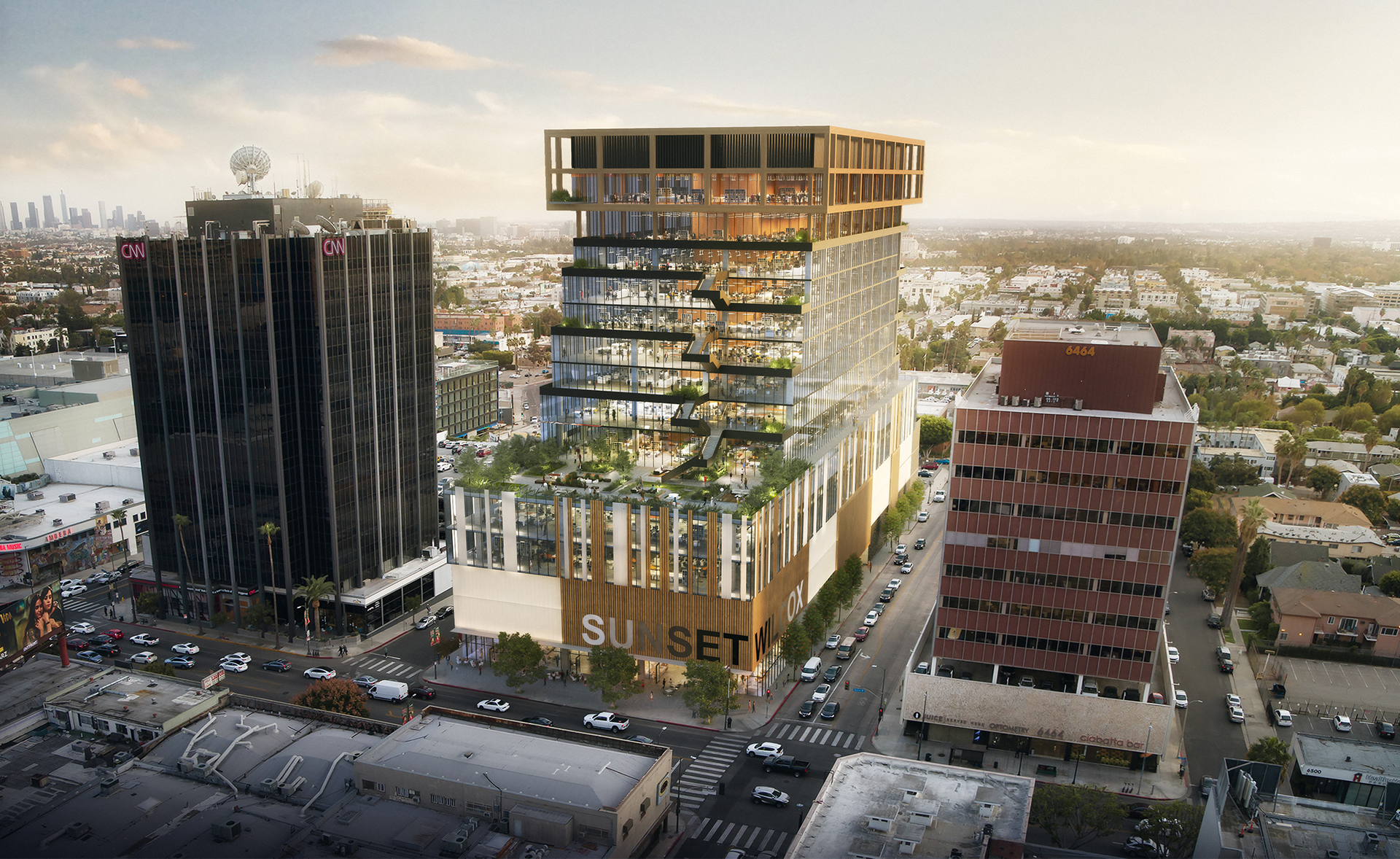 an illustration of a planned terraced office tower for hollywood