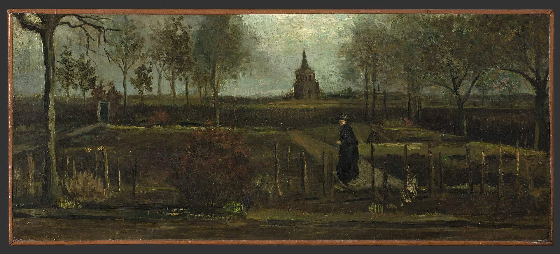 the 1884 vincent van gogh painting The Parsonage Garden at Nuenen in Spring