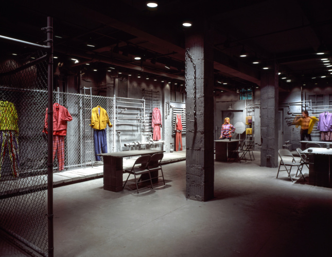 Interior photo of a concrete Willi Smith store with exposed columns