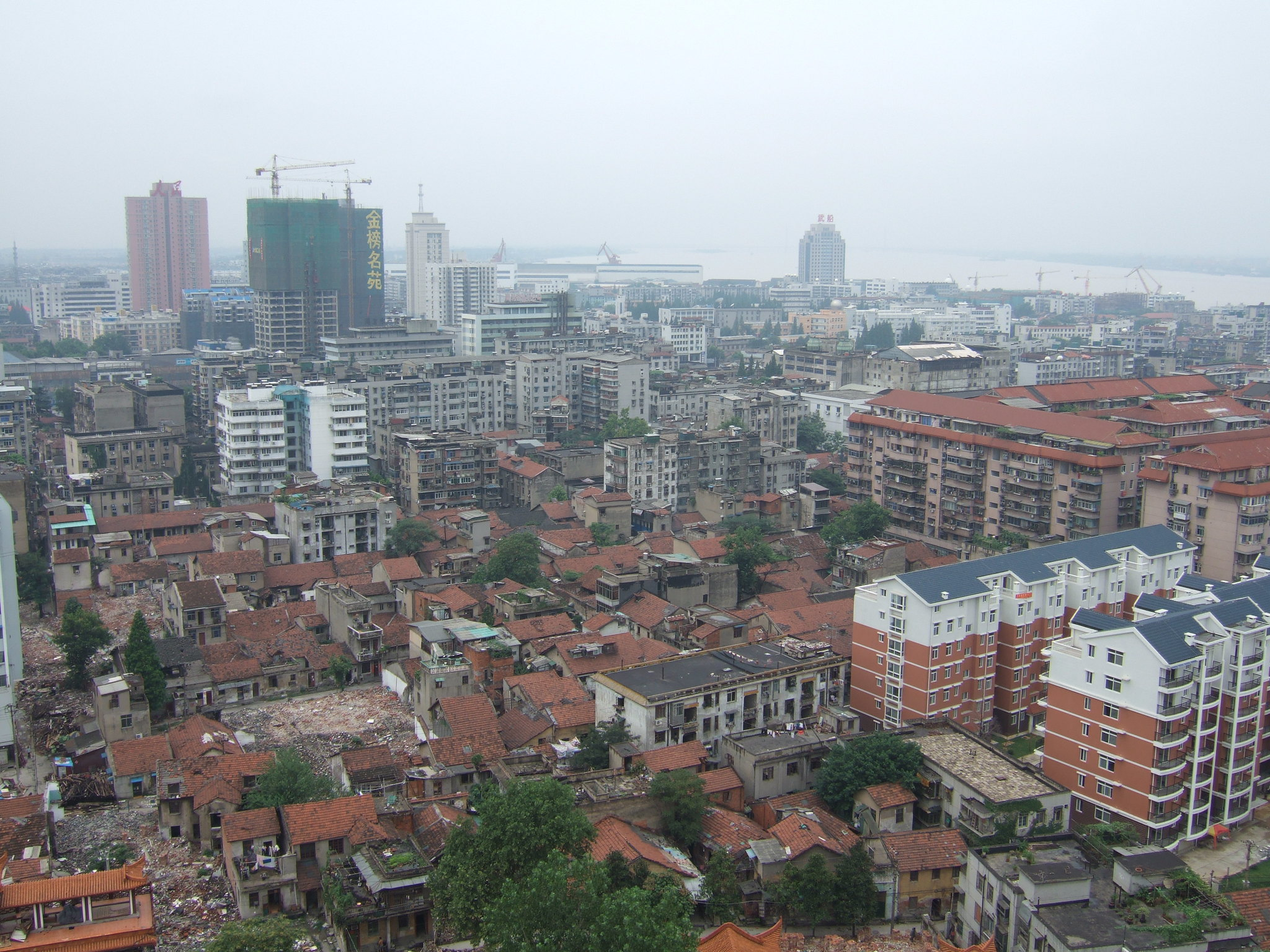 a skyline view of Wuhan, the Chinese city formerly locked down