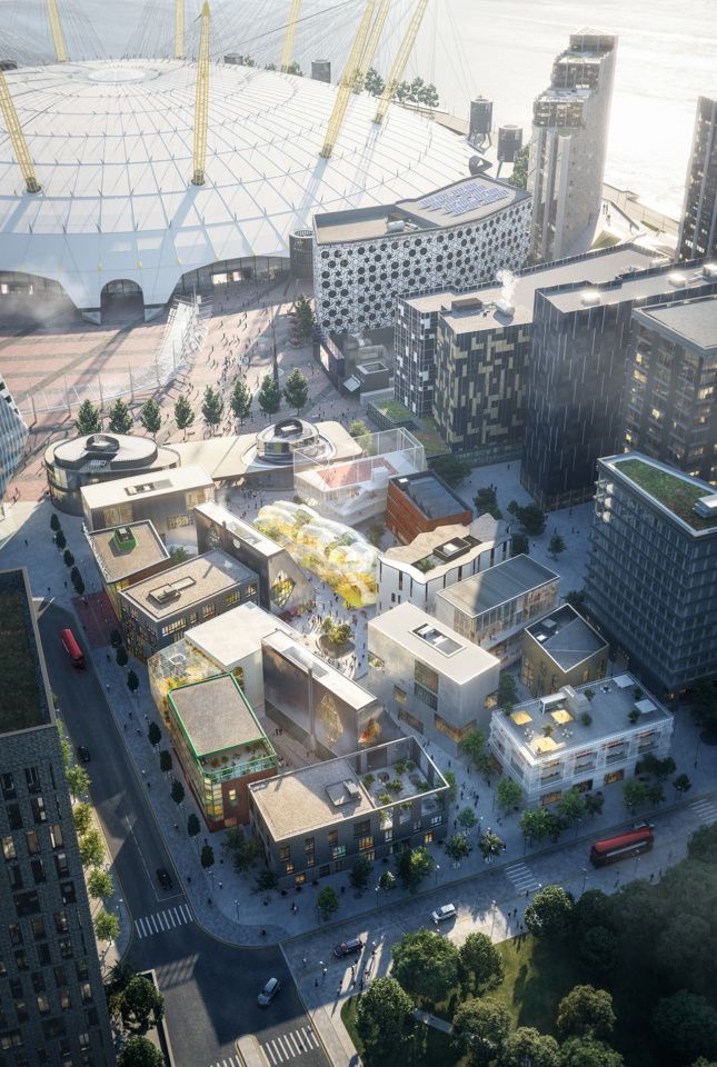 Aerial photo of a mixed building design district with a giant dome