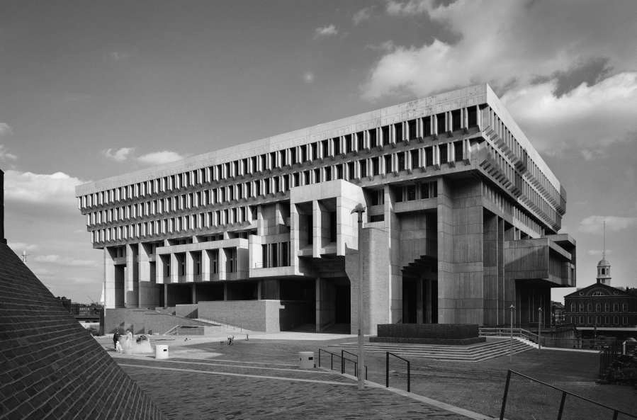 Boston City Hall, designed by Michael McKinnell, in black and white