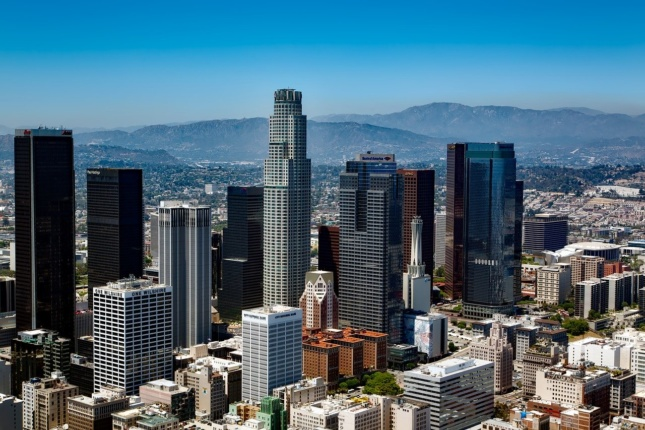 Los Angeles skyline against mountain backdrop, where the AIA Conference 2020 was to be held