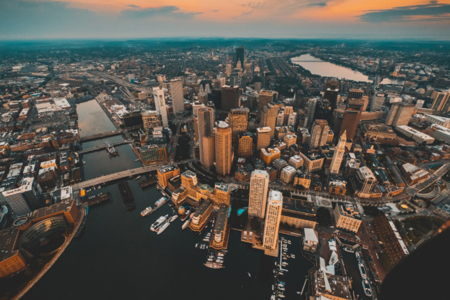 Aerial wide angle shot of Boston