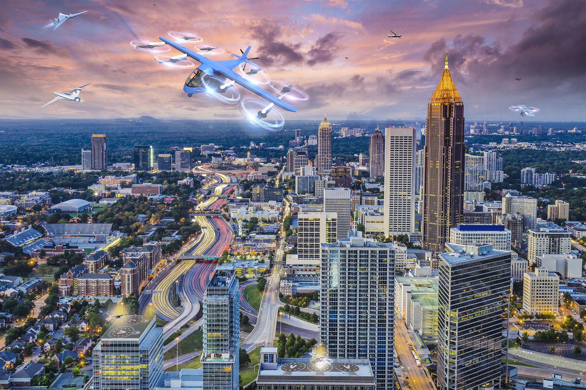 Drones and flying car buzzing by downtown Atlanta, part of a speculative NASA project