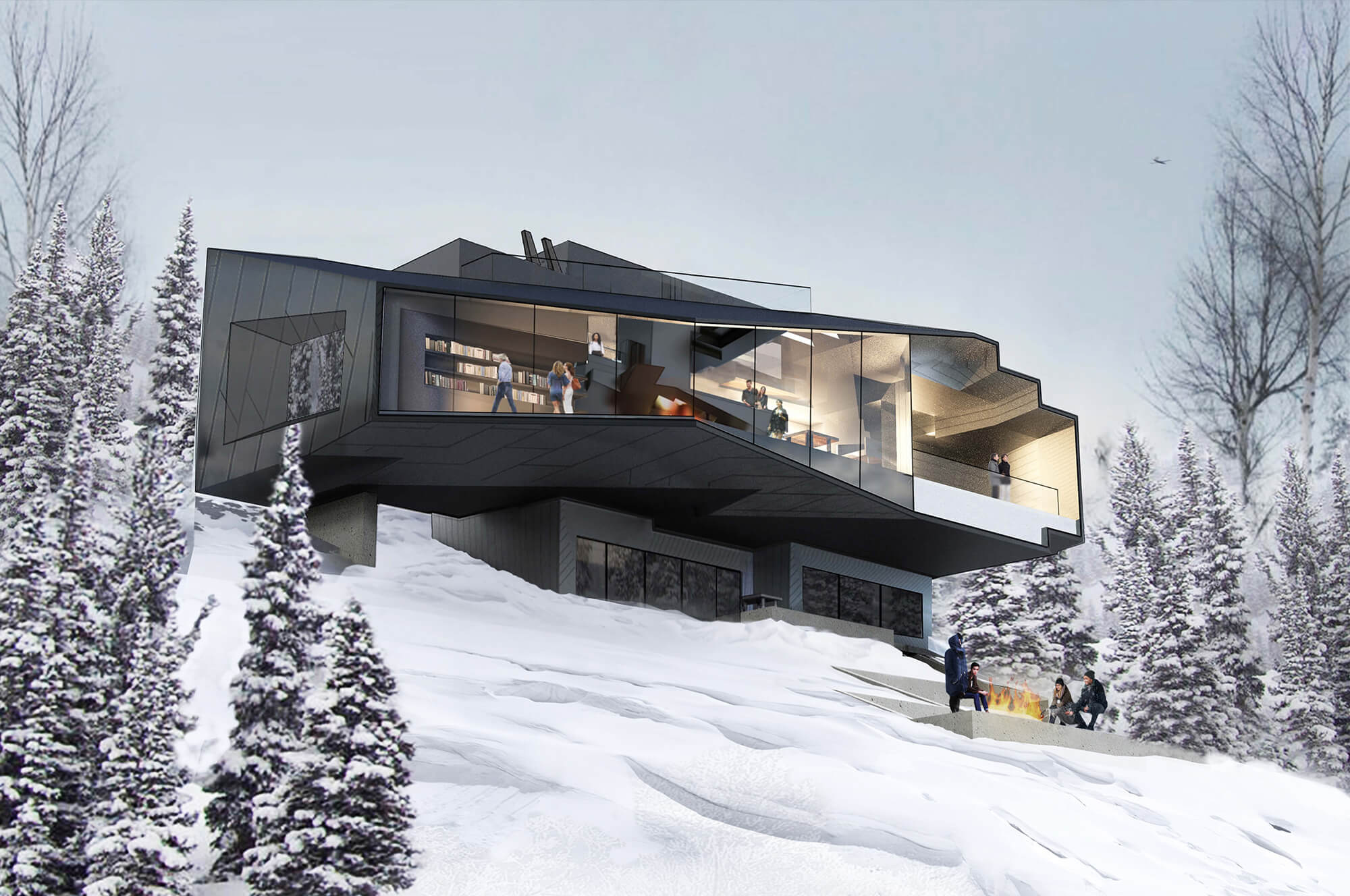 Home on snowy slope with trees atop Summit Powder Mountain