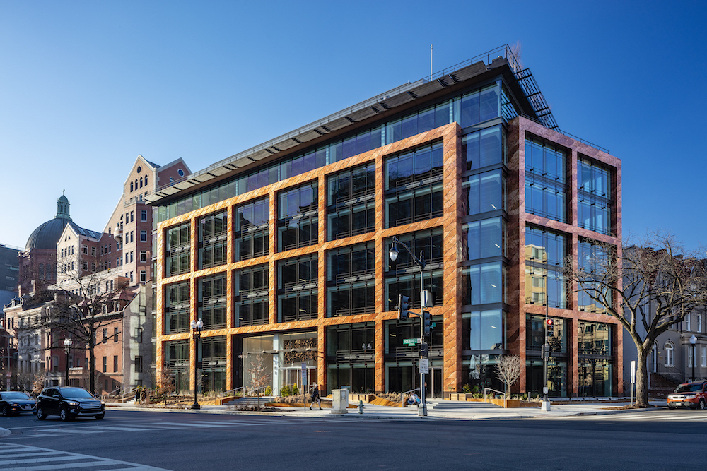 Exterior image of 1701 Rhode Island Avenue and its facade of copper and glass