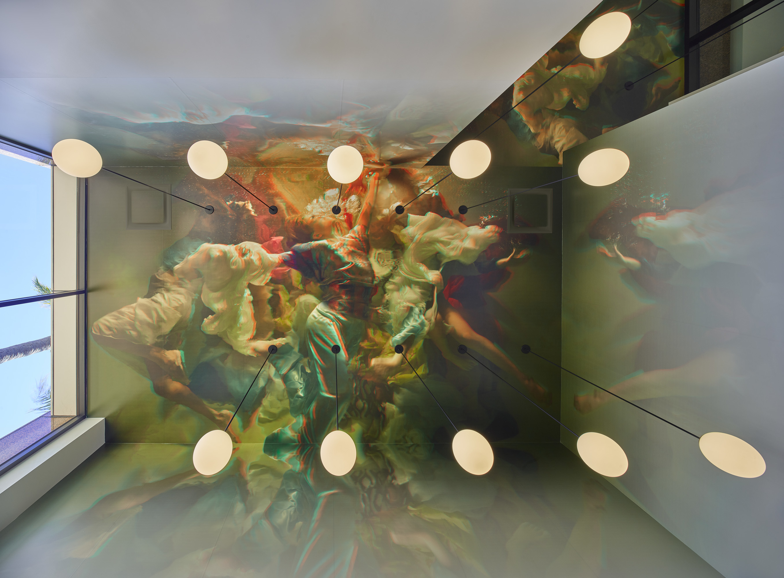 A large stereoscopic mural hung from the ceiling of a Newport Beach restaurant