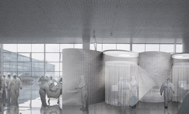 conceptual rendering of an emergency hospital in an airport