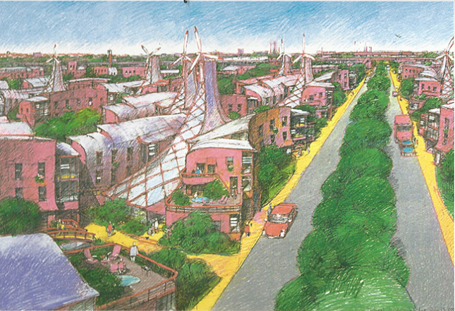 Pencil sketch of a greened New York City community