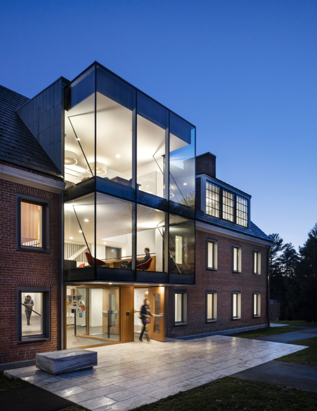 glass and brick building
