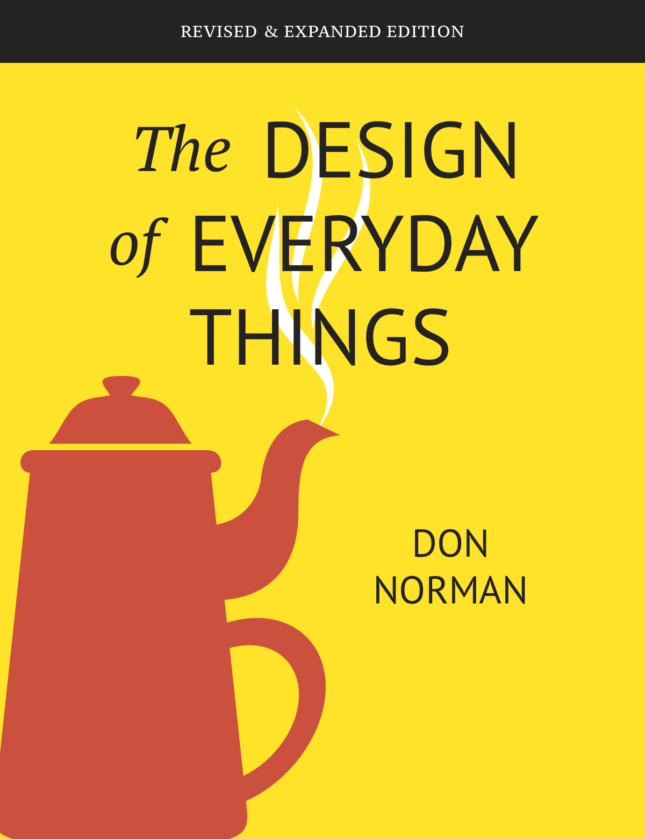 """Cover of a yellow book with """"the design of everyday things"""" on the cover"""