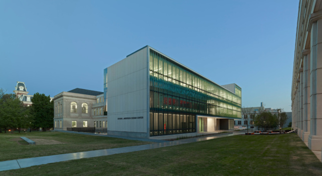 Exterior of a glass-fronted academic building