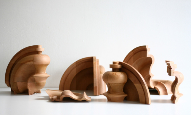 A series of wooden chess topper studies