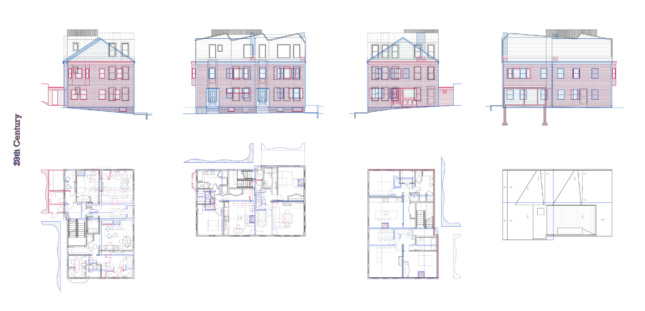 White diagram with different townhouse styles