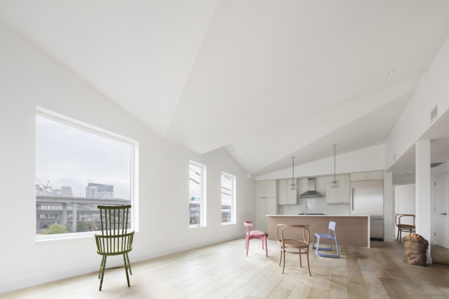 Interior rendering of a French 2D-designed white home with wood floors