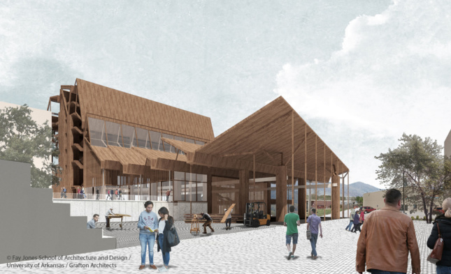 Exterior rendering of an all-timber building with gabled roof line and canopies