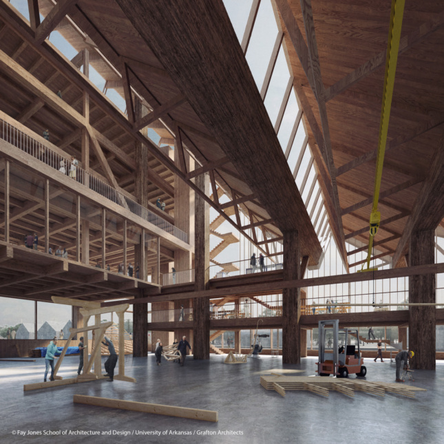 Interior rendering of a long timber hall with exposed struts and beams