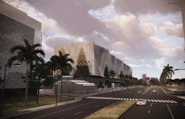an alternative design proposal for the Los Angeles County Museum of Art showing a rippling silver museum