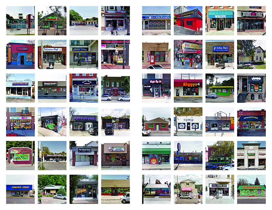 Grid of dozens of photos of head shop storefronts