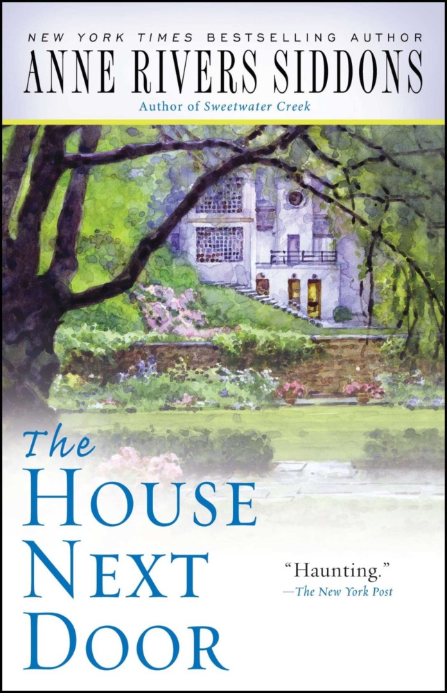 """Cover of a book with a watercolor house and the words """"the house next door"""""""