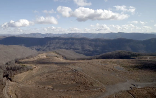 Aerial view of landscape with hills and mountains in Kentucky