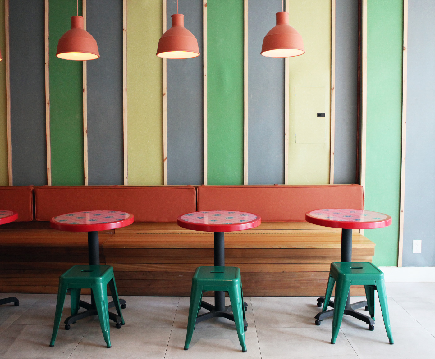 Interior of a restaurant with linear vertical stripes
