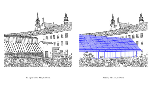 Illustrations of plans to restore a historic greenhouse
