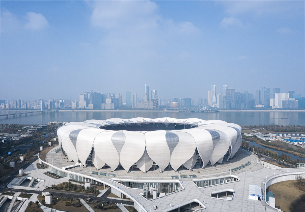a bird's eye view of a sports stadium in Hangzhou, CHina