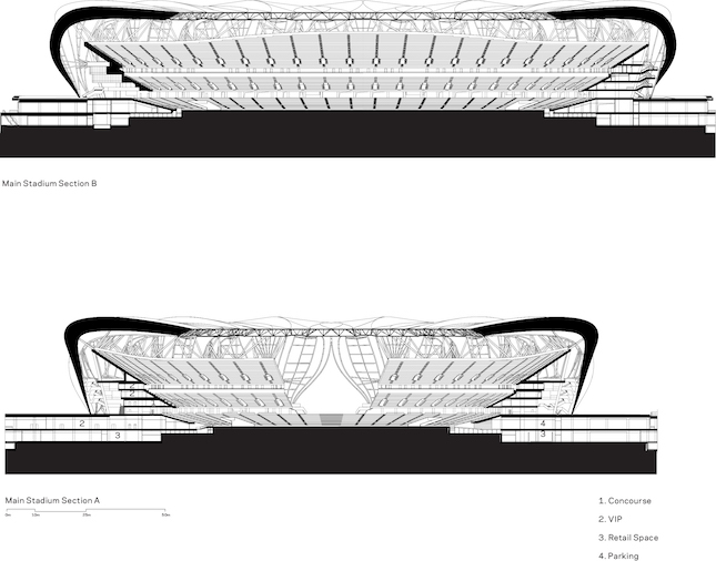 cross section of a stadium in Hangzhou, China