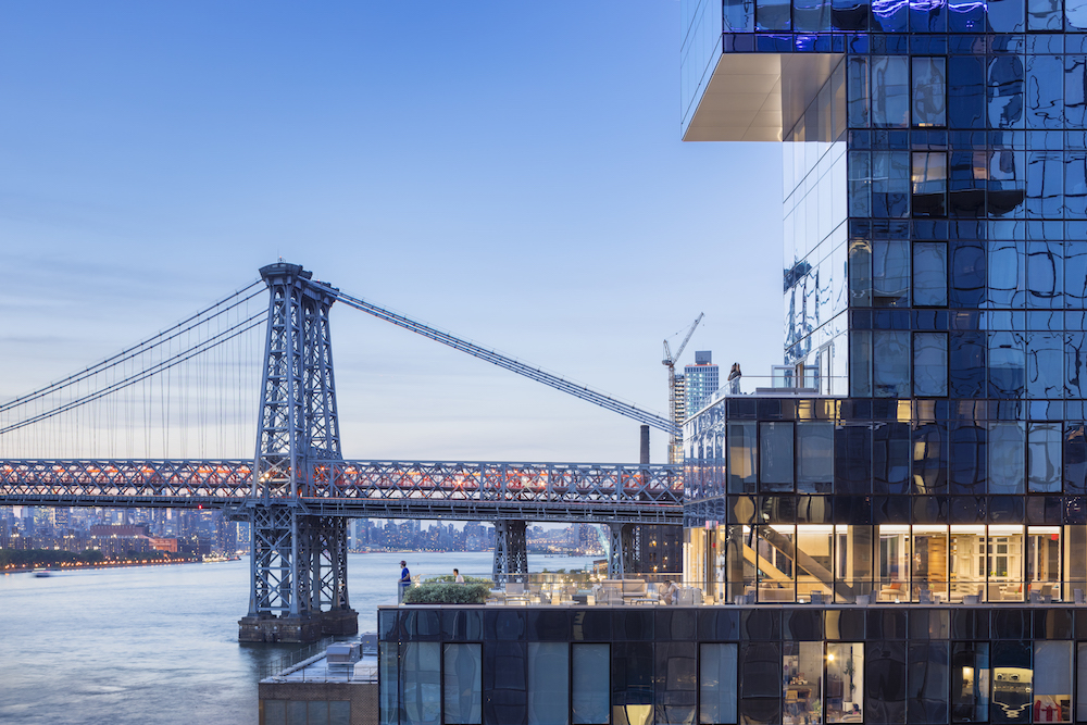 Contextual image of 420 Kent with Williamsburg Bridge in the background