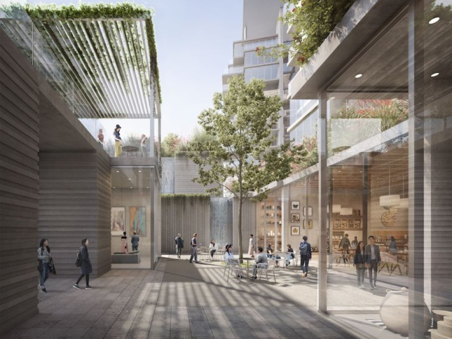 rendering of a mixed-use commercial and residential project with canopies above concrete cubes