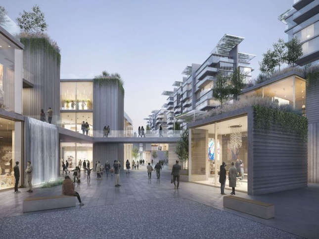 Rendering of a mixed-use commercial district made from concrete cubes