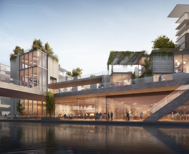rendering of a mixed-use commercial and residential project in Chengdu, China, formed nearly entirely from precast concrete