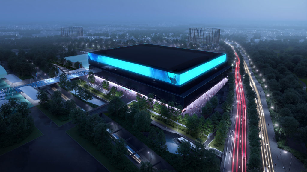 rendering of proposed arena for manchester, the new OVG Manchester