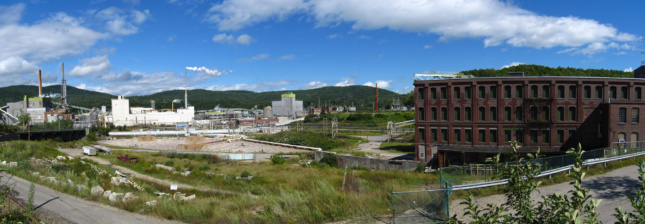 a panoramic view of a mill in Rumford, Maine