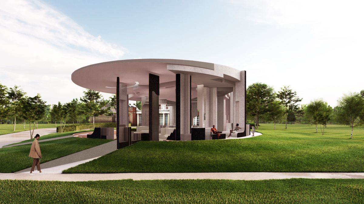Exterior rendering of the serpentine pavilion in green lawn