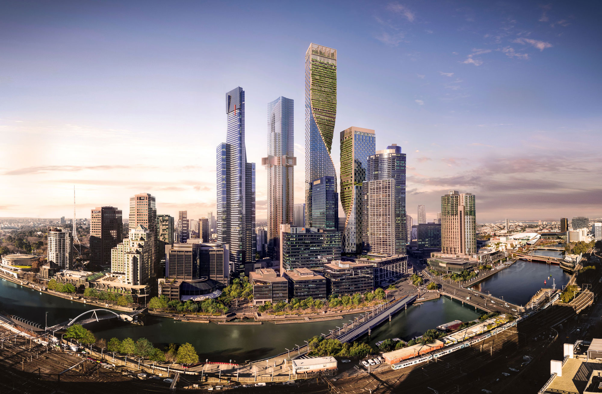 rendering of an in-development skyscraper in Melbourne, Southbank by Beulah development