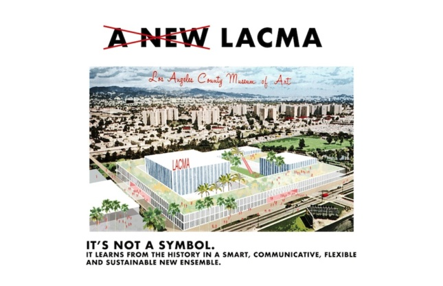 an alternative design proposal for the Los Angeles County Museum of Art showing a square complex