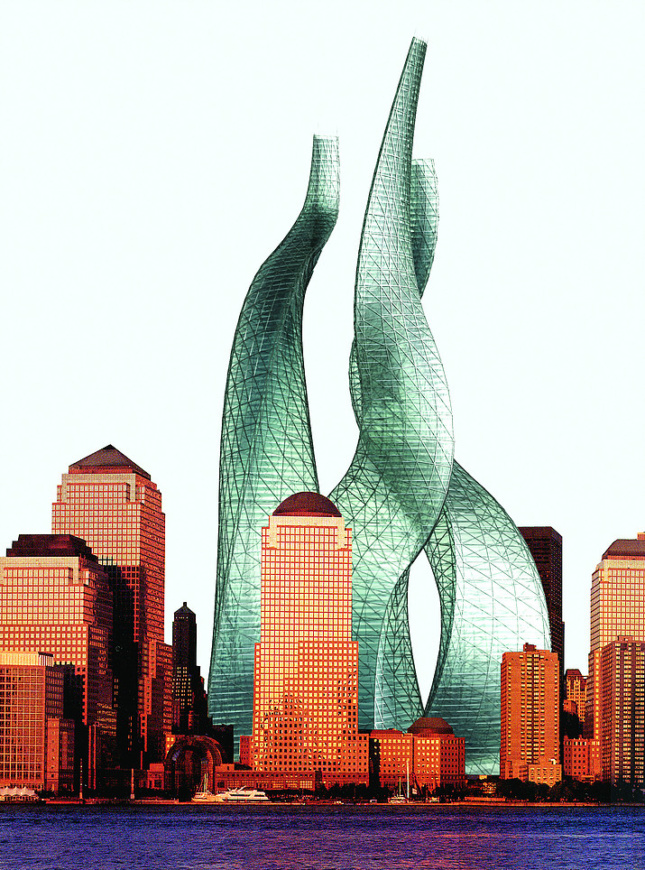 Rendering of twisting glass towers designed by michael sorkin