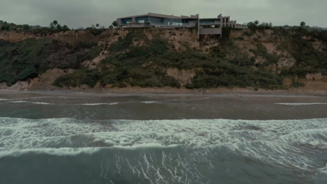 House above ocean and small hill, shot for Westworld