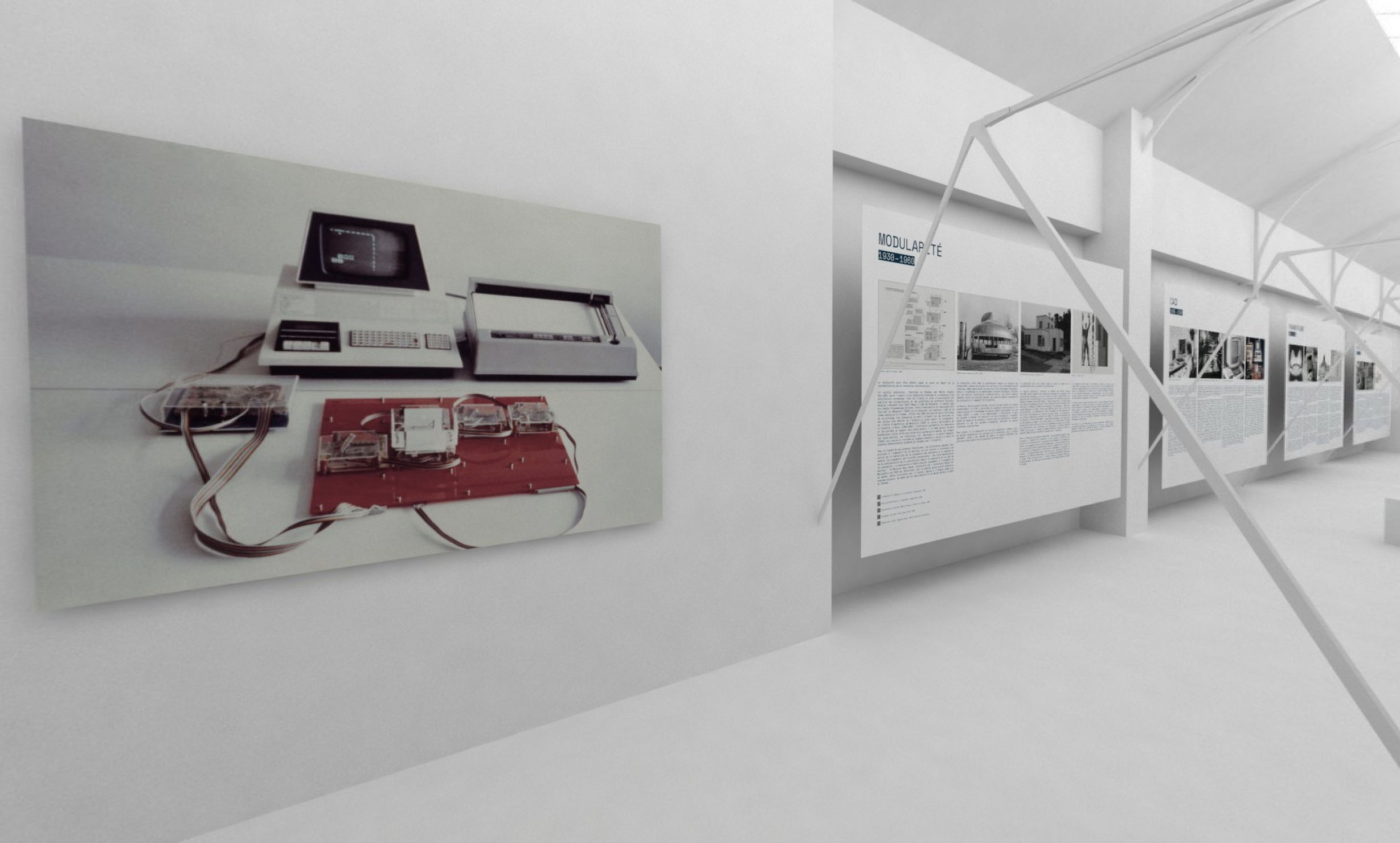 all-white interior with images and text on the wall, part of Artificial Intelligence & Architecture