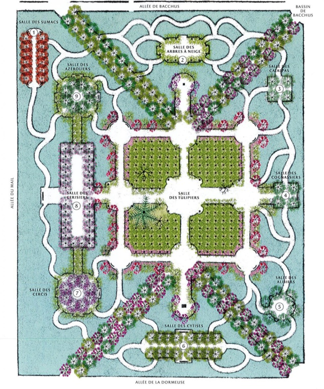 Site map of ornate park with square at its center