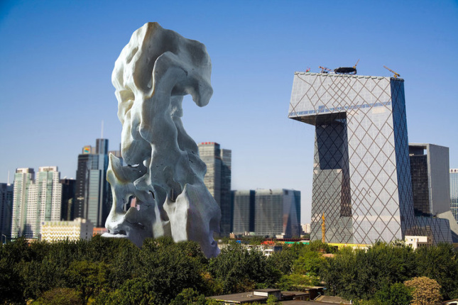 Rendering of a sculpture intended to imitate a skyscraper