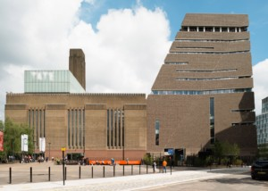The Tate Modern, home of the Turner Prize, and a triangular brick building