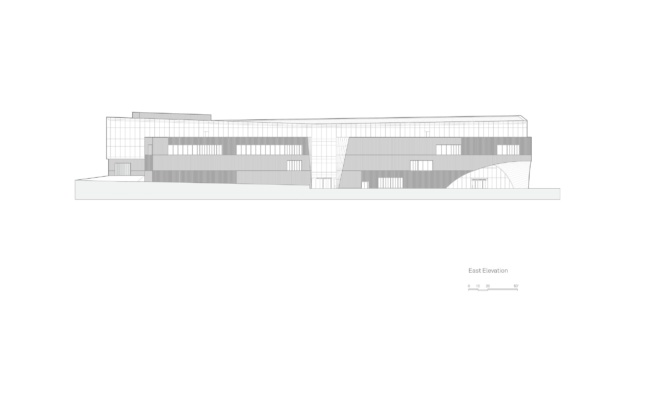 Elevation drawing of the Charles Library highlighting material treatment