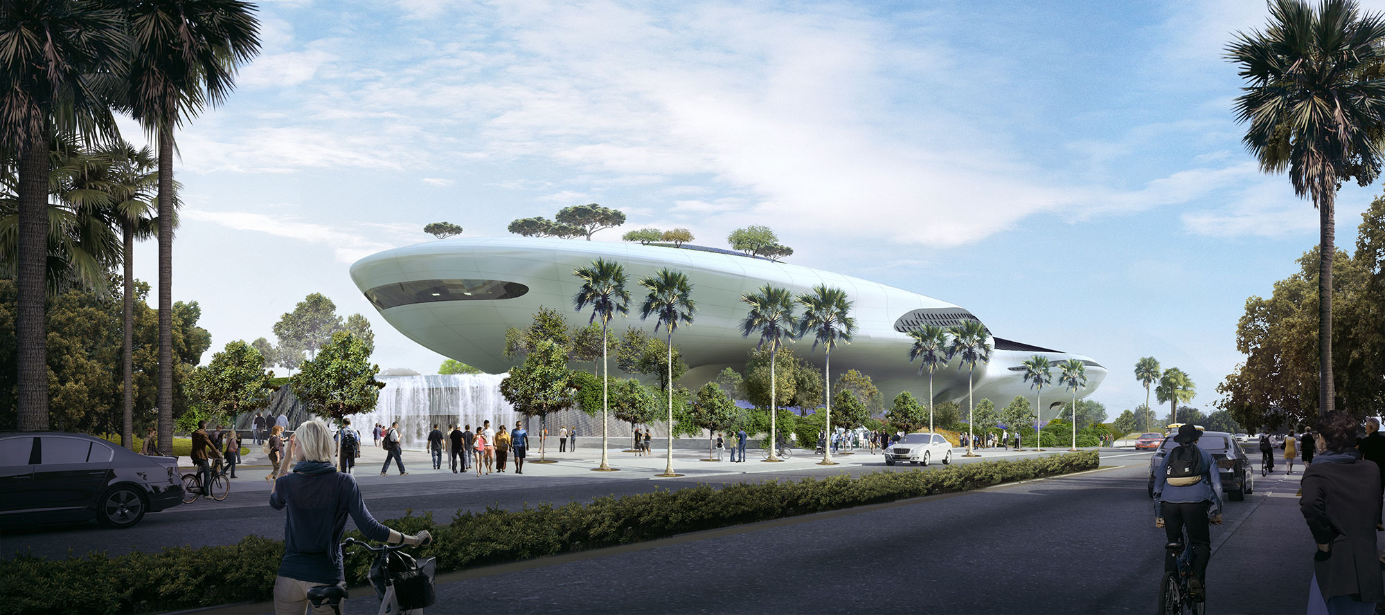 Rendering of the Lucas Museum within Exposition park