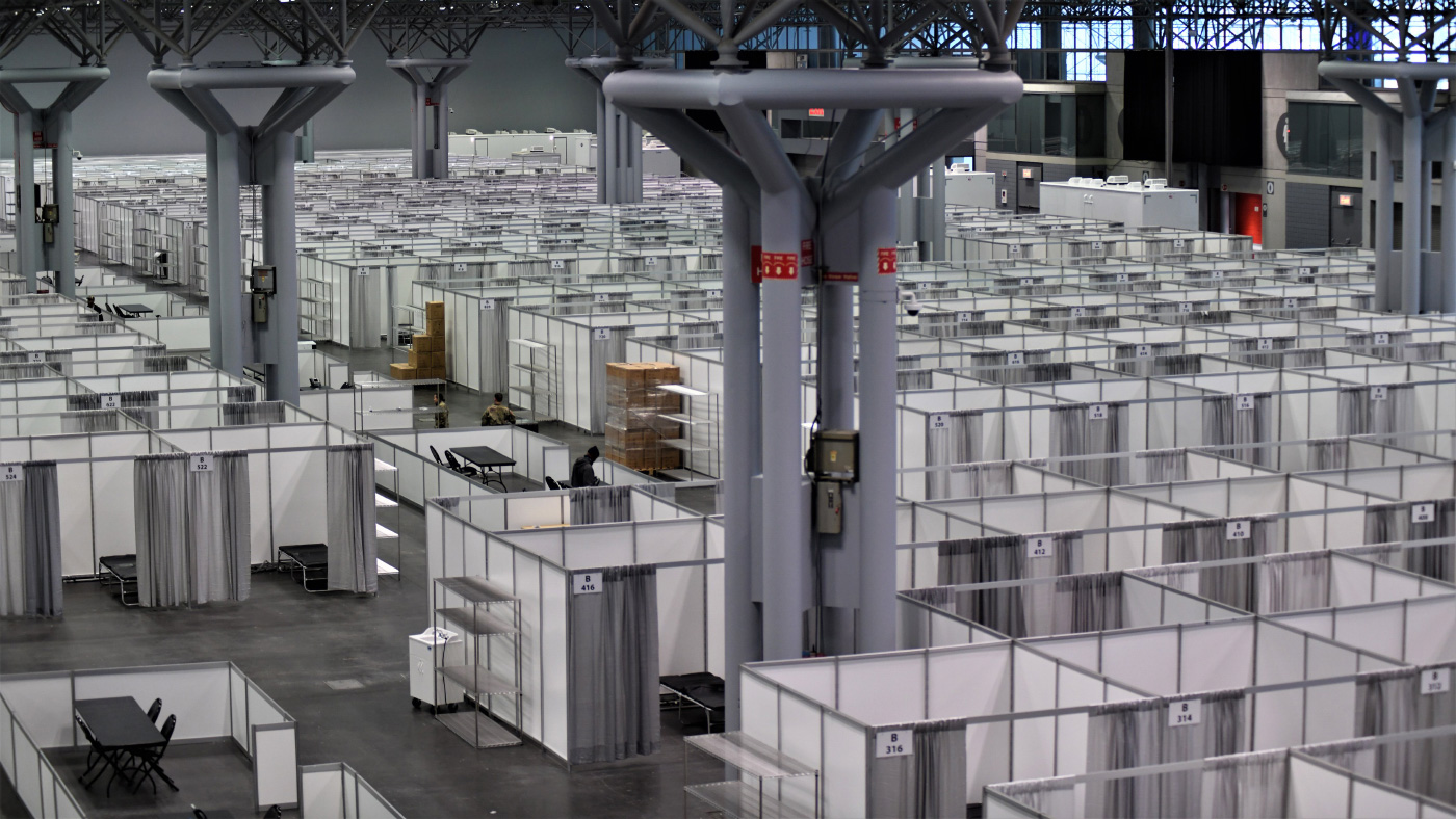 Interior photo of a field hospital inside of a convention center, a conversion that would fall under the Alternative Care Sites Assessment Tool