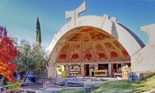 A dome at Arcosanti with a symbol on top