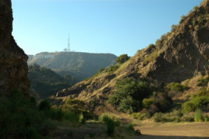 a view of the hollywood sign bronson canyon in los angeles, from griffith park